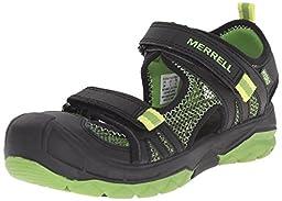 Merrell Boys Hydro Rapid Water Sandal (Toddler/Little Kid/Big Kid), Black/Green, 10 W US Toddler