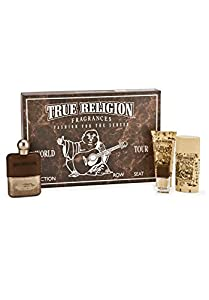 True Religion Set (Eau De Toillete 3.4 Ounce, Eau De Toillete Spray 0.25 Ounce, Body Wash 3.0 Ounce, Alcohol Free Deo 2.7 Ounce)
