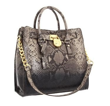 MICHAEL Michael Kors Hamilton Large North/South Tote Handbags - Dark Sand Python