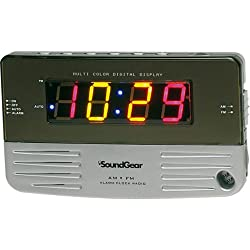 Soundgear Multi-Color Digital Alarm Clock Radio