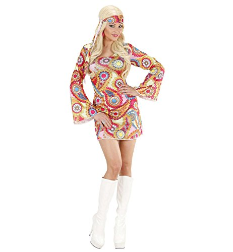 Ladies Psychedelic Hippie Dress Fancy Dress Costume
