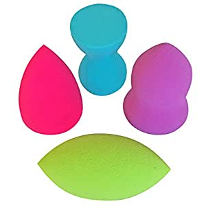 PRO Beauty Sponge Blenders: 4pc Unique Shape Makeup Sponge Dupe Set: Blend Foundation, Highlight and Contour Like a Pro! Makeup Applicators for Sheer Flawless Coverage; Compares to the Original.