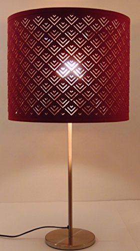 "Ikea Nymo Table Lamp 27.25"" Nickel Plated Wine Red Shade Uses Standard Size Bulb"
