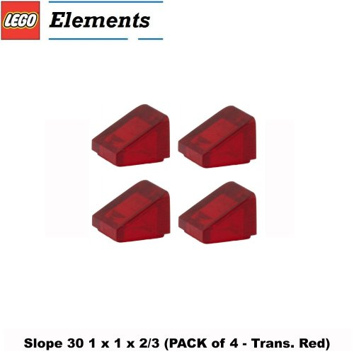 Lego Parts: Slope 30° 1 x 1 x 2/3 (PACK of 4 - Transparent Red) - 1