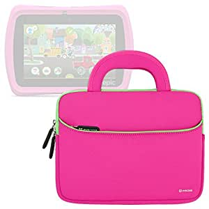 Evecase LeapFrog LeapPad Epic / Platinum / Ultra / Ultra XDi 7 Inch Kids' Learning Tablet Sleeve Case,Neoprene Travel Carrying Slim Sleeve Case Bag w/ Dual Handle and Accessory Pocket - Hot Pink