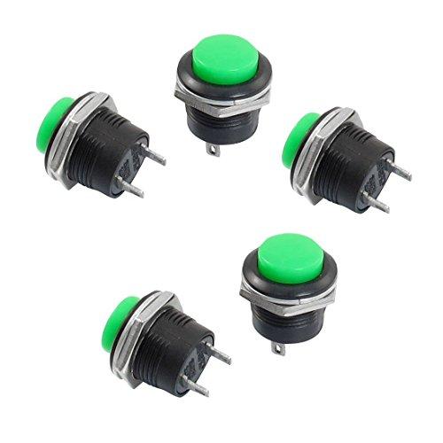 SODIAL (R) 5 x momentaneo SPST NO Verde protezione rotonda Pulsante Interruttore AC 6A / 125V 3A / 250V