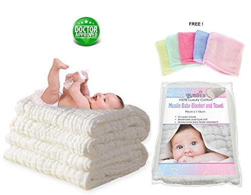 Luxury-White-10-Layer-Muslin-Cotton-Dual-Warm-Baby-Blanket-and-Bath-Towel-also-to-Swaddle-plus-a-FREE-Premium-Bamboo-Baby-Washcloth-Best-For-Sensitive-Skin-and-To-Prevent-Bacterial-Infections