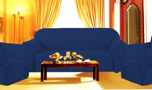 Sofa / Couch Cover Slipcover 3 Pc. Set = Sofa + Loveseat + Chair Covers / Slipcovers 3 Pcs SET Stripe Jacquard Fabric - Navy Blue color