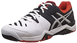 Asics Mens Gel-Challenger 10 White, Sky captain and Orange Tennis Shoes - 7 UK/India (41.5 EU) (8 US)