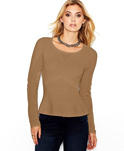 Bar Iii Indian Tan Long-Sleeve Ribbed Peplum Sweater M