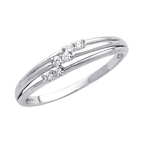 14K White Gold High Poliosh Finish Round-cut Top Quality Shines CZ Cubic Zirconia Ladies Promise Ring Band - Size 4