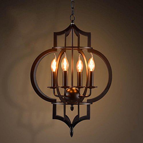 TYDXSD American vintage restaurant bar hotel chandelier light corridor the corridor by black wrought iron candle chandelier ring lights 430*800mm 0