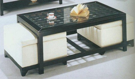 3pc Contemporary Cocktail/Coffee Table & 2 Storage Ottomans