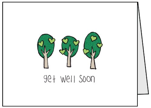Get Well Soon Trees Greeting Cards - 12 Sets