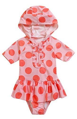 赤ちゃんこそ UVケアー フード付 女の子 水着 カラー3色 (パッションピンク、ピンク、イエロー) (パッションピンク, SS(80-90cm))