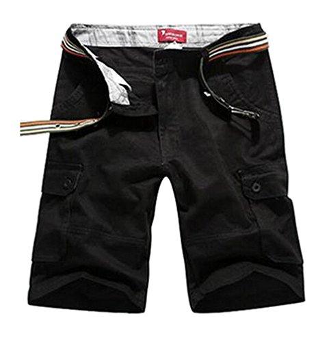 Cargo shorts herren casual Hose cargohose herren Schwarz,W44