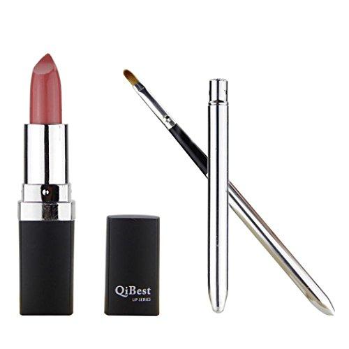 Voberry® Beauté Waterproof Liquid Matte Lipstick Super Long Lasting - Maquillage Etanche Rouge à Lèvres Brillant Crayon + Mini-Pinceau à Lèvres (RD/02)