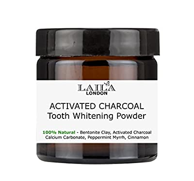 Activated Charcoal Tooth Powder Large 3oz Herbal Organic 100% Natural Fluoride Free Natural Whitening Remineralizing Oral Dental Polish 60ml Breath Freshener Calcium Carbonate, Peppermint & Lemon