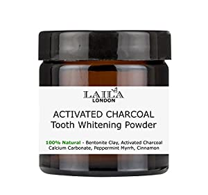 Charcoal Tooth Whitening Powder Herbal Organic Extra Strength 100% Natural (Fluoride-Free) Natural Whitening Remineralising Dental Polish 60ml - Breath Freshener - Bentonite Clay, Xylitol, Myrrh & Mint
