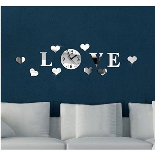 Colorfulhall - Love Hearts 8 Hearts Mirror 3D Diy Wall Clock Acrylic Silver Color Creative Modern Wall Sticker Home Decor Decoration