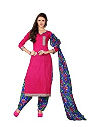 Minu Suits Deep Pink Cotton Printed Salwar Suits Fully Unstitched Dress material