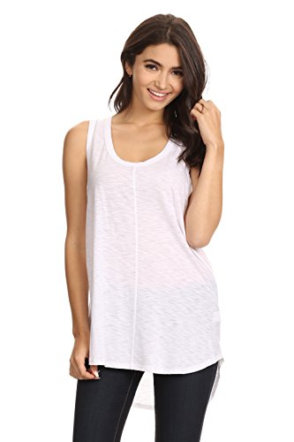 A+D® Womens Cotton Slub Knit Racerback Tank Top (White, Large) (Womens Semi Cotton Tank Tops compare prices)