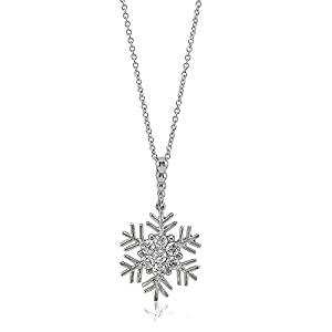 BERRICLE Sterling Silver Cubic Zirconia CZ Snowflake Fashion Pendant Necklace 16