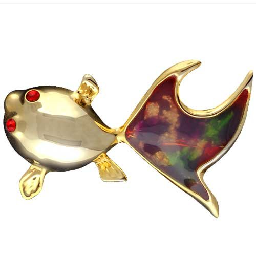 Pugster Gold Red Tail Fish Fashion Jewelry Brooches And Pins