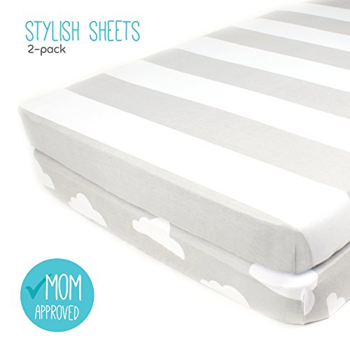 Pack N Play Playard Sheet Set – 2 Pack – Fitted, Soft Jersey Cotton Portable Crib Sheet – Baby Bedding in Grey Stripes & Clouds by Mumby