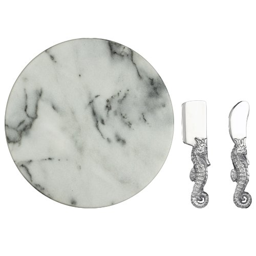 Arthur Court Seahorse Cheese Set With 12-Inch Marble
