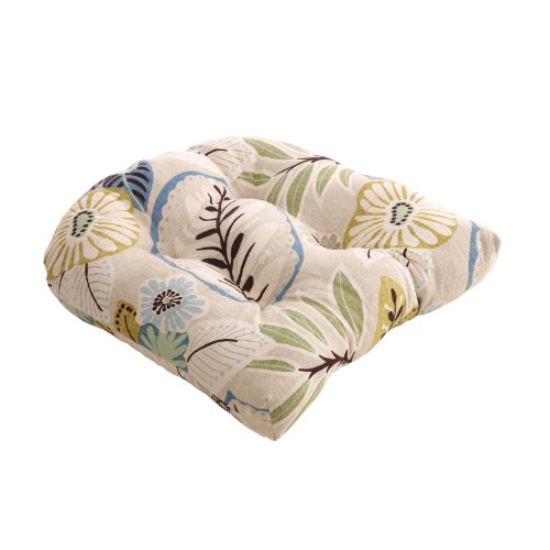 Pillow Perfect Beige/Blue Tropical Chair Cushion image