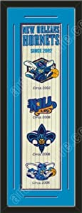 Heritage Banner Of New Orleans Hornets With Team Color Double Matting-Framed Awesome... by Art and More, Davenport, IA