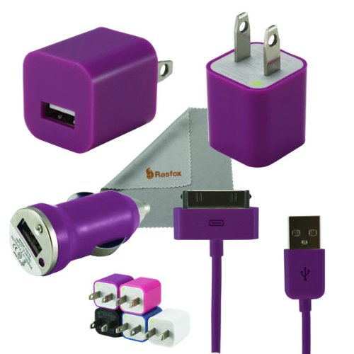 Rasfox Purple Tiny Home Power Adapter, Car Charger & USB Cable For Apple iPhone 4S 4 3GS 3G, iPod Touch 1/2/3/4/5 ,Nano, Video, Classic and More