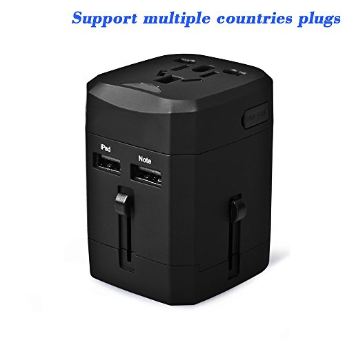 Liang's Portable Changeover Plug for cellphonesTravel AdapterUSB Power Strip(2 Ports), Multifunctional Converter, Worldwide, Safety Fuse Protection