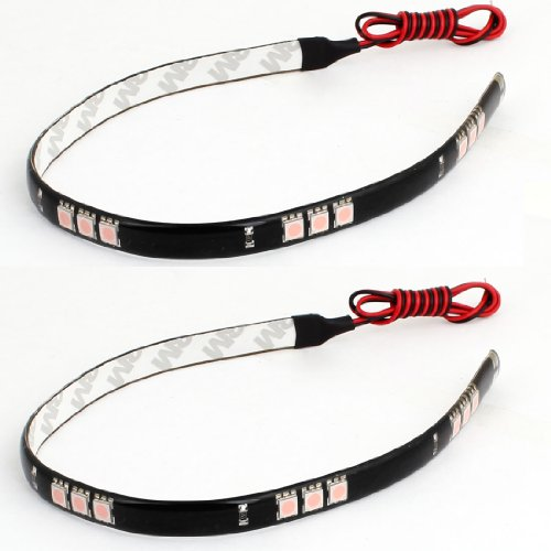 Car Exterior Decor 12V Pink 15 5050 Smd Flexible Led Strip Light Lamp 30Cm 2 Pcs
