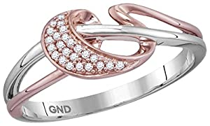 10kt Two-tone Pink Gold Womens Round Natural Diamond Band Fashion Ring (.05 cttw.)