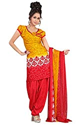 Variation Women's Yellow Jacquard Unstiched Dress Material (VD11945)