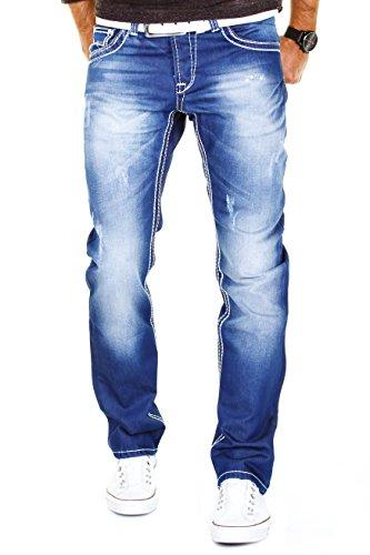 MERISH Herren Jeanshose Denim Dicke Naht Bleached Trend Usedlook Jeans Hose Neu J9111 32/32