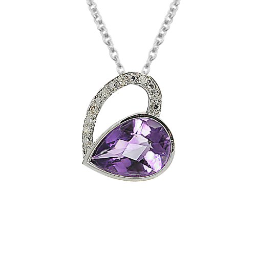 Sterling Silver Diamond and Amethyst Heart Pendant (.03 cttw, H-I Color, I2-I3 Clarity), 18""