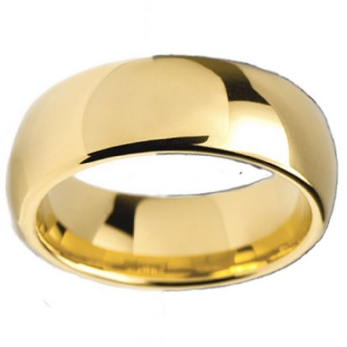 Tungsten Carbide Men's Ladies Unisex Ring Wedding Band 8MM (5/16 inch) High Polish 18K Gold Plated Dome Comfort Fit (Available in Sizes 8 to 12) size 12