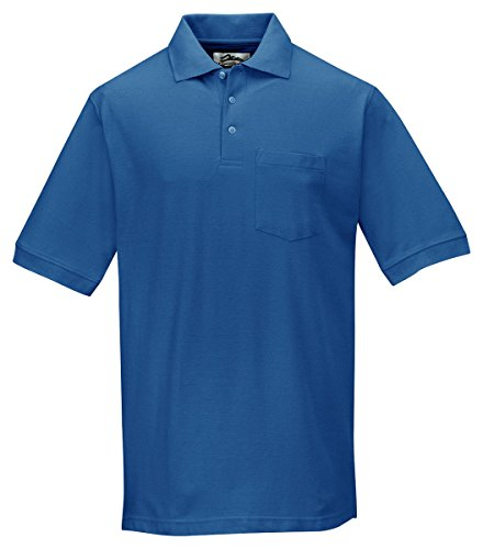 Tri-Mountain Men'S Big And Tall Baby Pique Polo Shirt, Royal, Xxxx-Large front-762734