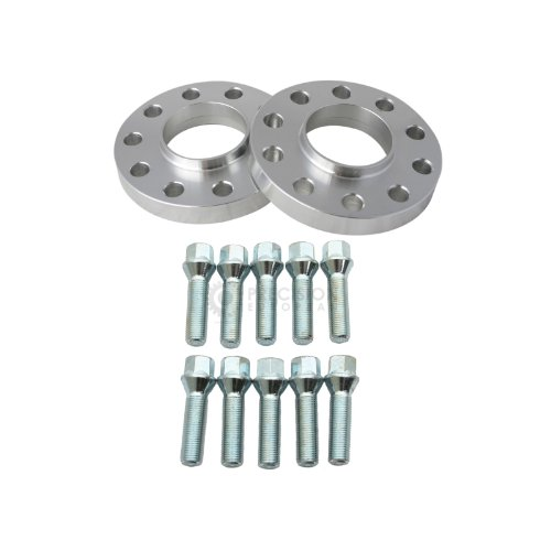 2Pc 15Mm Hubcentric Wheel Spacers (5X120 72.6) For Bmw With Silver Lug Bolts (12X1.5, 42Mm Shank)