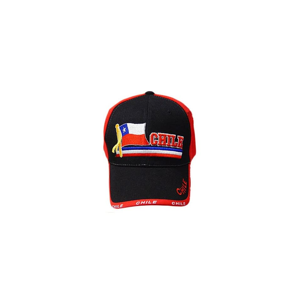 CHILE RED BLACK BASEBALL CAP HAT EMBROIDERED ADJ NEW