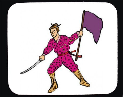 Decorated Mouse Pad with man, sword, Japan,