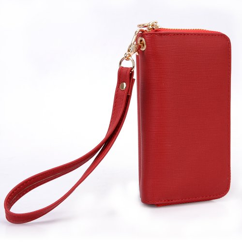 Best Price [Geek] EPI Leather Women's Wallet Wrist-let Phone Case Stand with Shell for Apple iPhone 5 - Red with Orange interior. Bonus Ekatomi screen cleaner