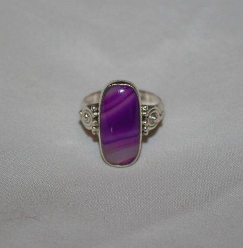 Purple Botswana Agate Set in .925 Sterling Silver Size 7
