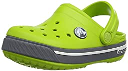 crocs Crocband II.5 K Clog (Toddler/Little Kid), Volt Green/Charcoal, 4/5 M US Toddler