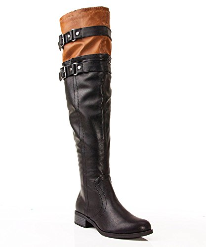 Soda Ride-H Leatherette Round Toe Knee High Motorcycle Riding Boots Black Tan (8)
