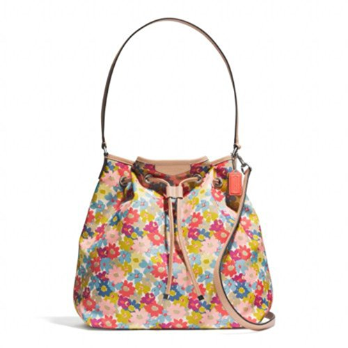 Coach   Coach 28922 Signature Stripe Floral Print Drawstring Shoulder Bag