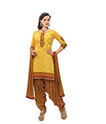 Banorani Womens Yellow & Light Brown Color Jacquard & Cotton Casual,Trendy,Wedding,Party,Festive,Office ,Lace, Embroidered & Unstitched Salwar Suit Dress Material
